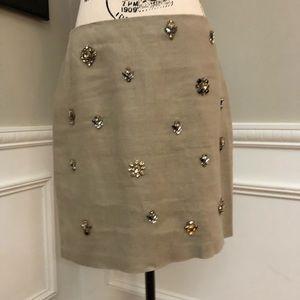 Ann Taylor 6P Linen Rhinestone Skirt